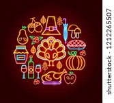 thanksgiving day neon concept.... | Shutterstock .eps vector #1212265507