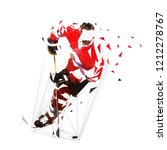 ice hockey player in red jersey ... | Shutterstock .eps vector #1212278767