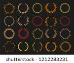 vector laurel autumn wreaths on ... | Shutterstock .eps vector #1212283231
