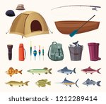 fishing equipment. set of icons.... | Shutterstock .eps vector #1212289414