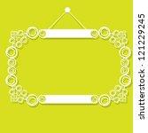white decorative frame on green ... | Shutterstock .eps vector #121229245