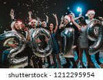 smiling people with baloons... | Shutterstock . vector #1212295954