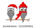 two owls on the branch in the... | Shutterstock .eps vector #1212334561