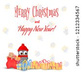owl on the branch in the santa... | Shutterstock .eps vector #1212334567