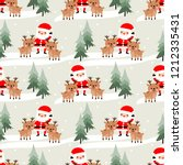 cute santa claus and reindeer... | Shutterstock .eps vector #1212335431
