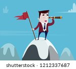 businessman with flag on... | Shutterstock .eps vector #1212337687