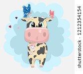 cute baby calf cartoon hand... | Shutterstock .eps vector #1212354154