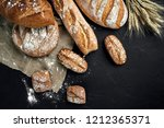 bakery   gold rustic crusty... | Shutterstock . vector #1212365371