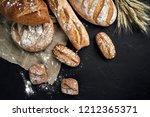 bakery   gold rustic crusty...   Shutterstock . vector #1212365371