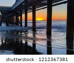 sunset under venice pier | Shutterstock . vector #1212367381