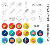 makeup and cosmetics flat icons ... | Shutterstock .eps vector #1212419167