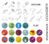 hairdresser and tools flat... | Shutterstock .eps vector #1212420874
