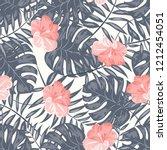 tropical seamless ethnic... | Shutterstock .eps vector #1212454051