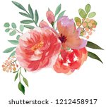 watercolor flowers bouquets ... | Shutterstock . vector #1212458917