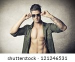 Shirtless Young Man With Opene...