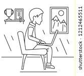 freelancer boy home concept... | Shutterstock . vector #1212465511