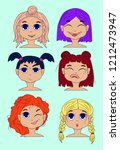set of vector faces  different... | Shutterstock .eps vector #1212473947