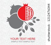card with pomegranate. vector... | Shutterstock .eps vector #1212476344