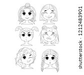set of vector faces  different... | Shutterstock .eps vector #1212483901