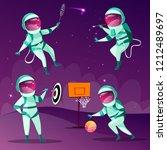 funny spacemen playing darts ... | Shutterstock . vector #1212489697