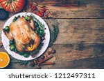 thanksgiving roasted chicken... | Shutterstock . vector #1212497311