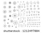wild lowers and leaves... | Shutterstock .eps vector #1212497884