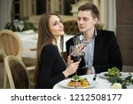 restaurant  couple and holiday... | Shutterstock . vector #1212508177