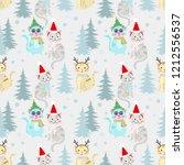 christmas pattern background...   Shutterstock .eps vector #1212556537