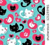 Stock vector romantic seamless pattern with cute couple of cats 121255981