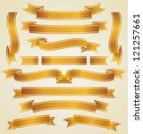 set of golden ribbons | Shutterstock .eps vector #121257661