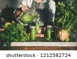making green detox take away...   Shutterstock . vector #1212582724
