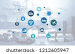 world map with logistic network ... | Shutterstock . vector #1212605947