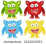 set of funny monster... | Shutterstock .eps vector #1212611521