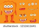 orange monster and facial... | Shutterstock .eps vector #1212611641