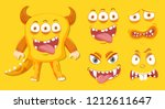 yellow monster and facial... | Shutterstock .eps vector #1212611647