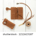 brown genuine leather wallets... | Shutterstock . vector #1212615187
