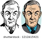 an older man with an annoyed... | Shutterstock .eps vector #1212615421