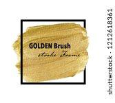 golden brush stroke frame  gold ... | Shutterstock .eps vector #1212618361