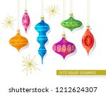 set of vintage retro christmas...   Shutterstock .eps vector #1212624307