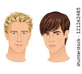 close ups of two handsome young ... | Shutterstock .eps vector #121262485