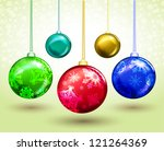 set of christmas decorations on ... | Shutterstock .eps vector #121264369