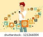 Woman Using Smartphone. Around...