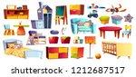 big set of wooden furniture ... | Shutterstock .eps vector #1212687517