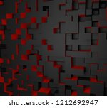 3d red and black abstract cube... | Shutterstock . vector #1212692947