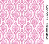 Seamless Hot Pink   White Damask