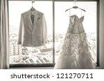 wedding dress and suit hanging... | Shutterstock . vector #121270711