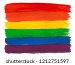 rainbow flag paint on white... | Shutterstock . vector #1212751597