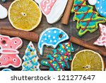 curly christmas gingerbread... | Shutterstock . vector #121277647