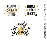 vector set of cute girl slogans.... | Shutterstock .eps vector #1212776671