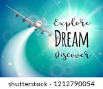 travel flyer wuth realisitc... | Shutterstock . vector #1212790054